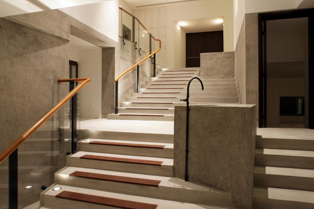 Modern, Landed, Belmont House, Architect, Lekker Architects, Steps, Stairway, Glass Railing, Banister, Handrail, Staircase, Bench, Toilet
