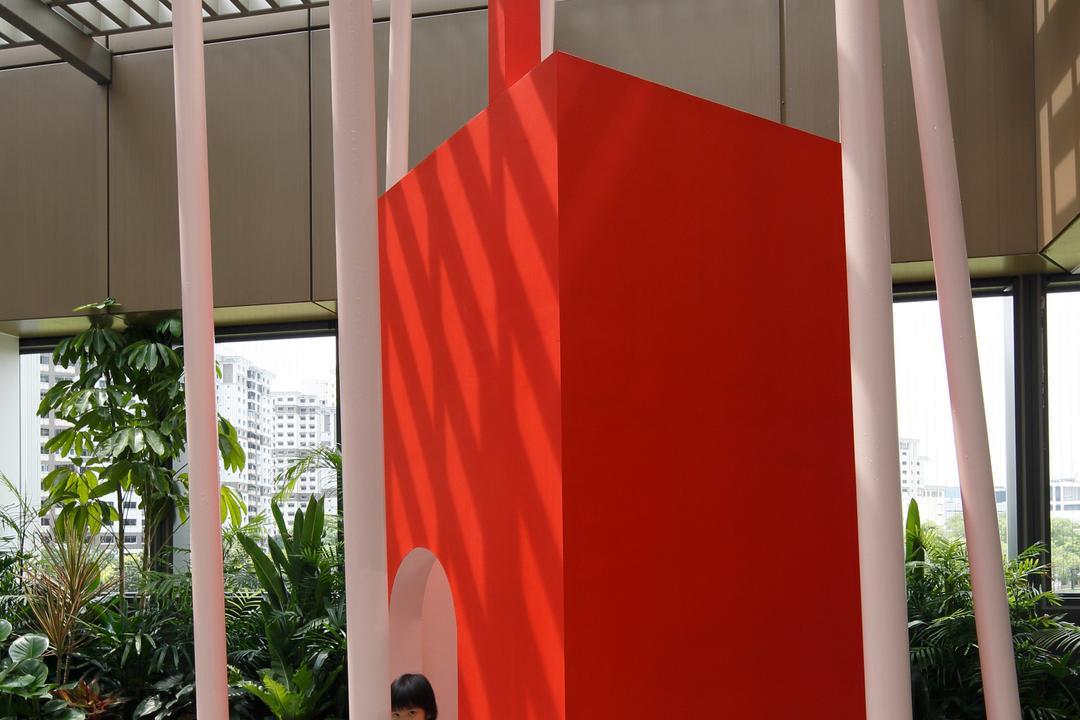 Cove 2 Preschool, Lekker Architects, Contemporary, Commercial, Pink Pillars, Pillars, Steps, Playhouse, Flora, Jar, Plant, Potted Plant, Pottery, Vase, Architecture, Building, Column, Pillar