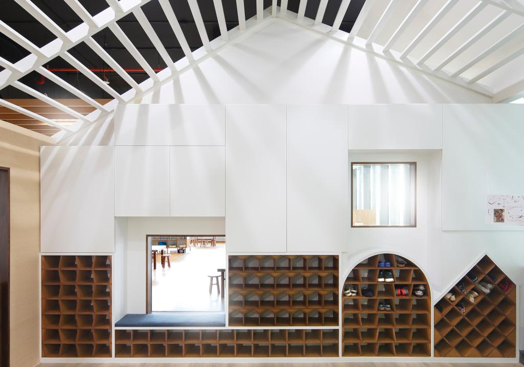 Cove 2 Preschool, Commercial, Architect, Lekker Architects, Contemporary, Slanted Ceiling, White Ceiling, White Walls, Open Shelves, Bookcase, Furniture, Banister, Handrail, Staircase, Cardboard