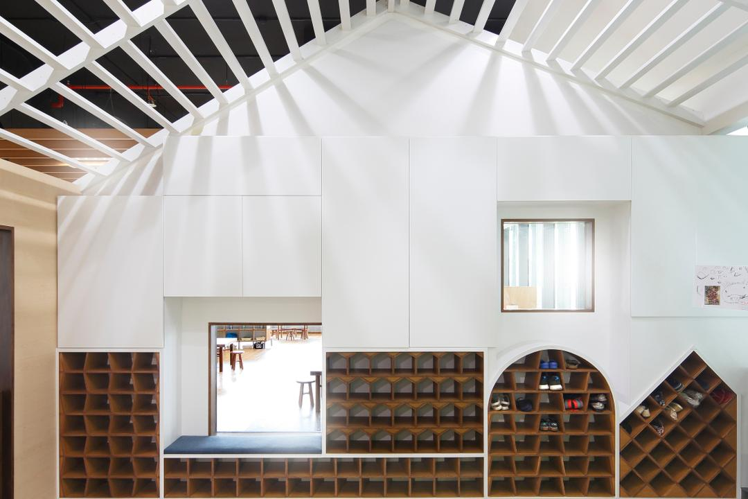 Cove 2 Preschool, Lekker Architects, Contemporary, Commercial, Slanted Ceiling, White Ceiling, White Walls, Open Shelves, Bookcase, Furniture, Banister, Handrail, Staircase, Cardboard