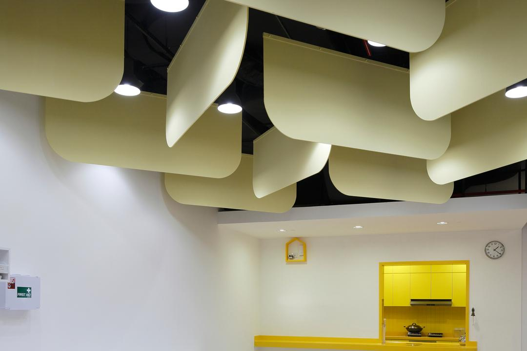 Cove 2 Preschool, Lekker Architects, Contemporary, Commercial, Hanging Decors, False Ceiling, Recessed Lighting, Recessed Lights, Yellow Shelf, Chairs, Tables, Colourful Tables, Colorful Tables, Lighting, Indoors, Interior Design