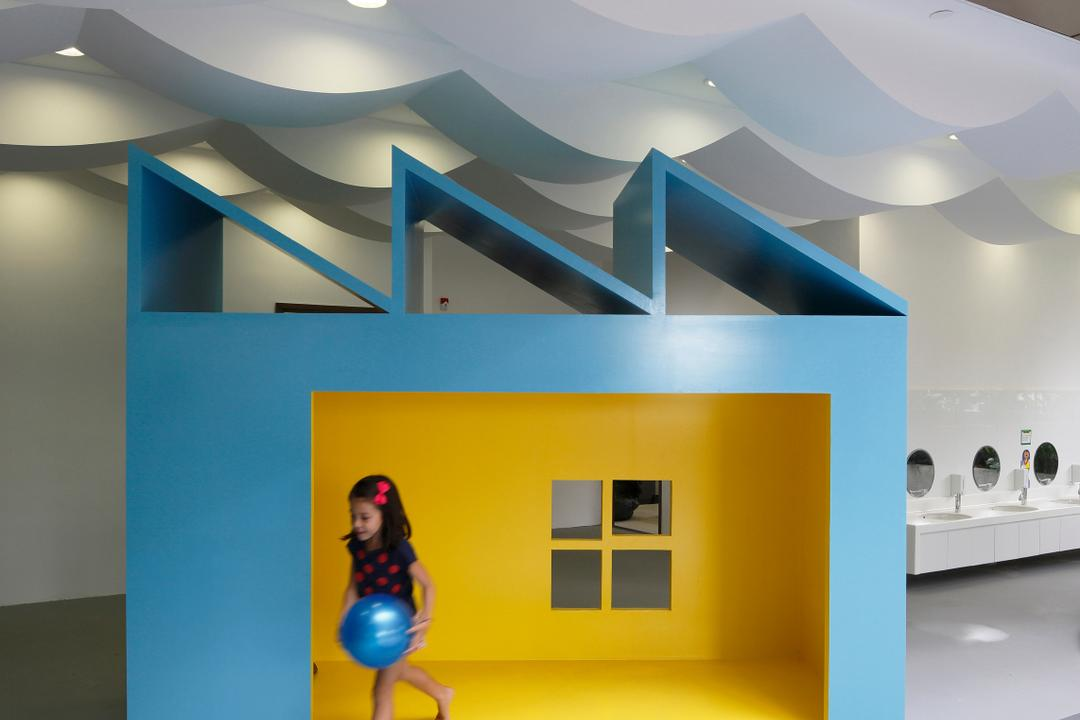 Cove 2 Preschool, Lekker Architects, Contemporary, Commercial, Recessed Lighting, Recessed Lights, Blue Playhouse, Yellow Playhouse, Wavy Ceiling, White Ceiling, Human, People, Person, Sink, Collage, Poster, Indoors, Interior Design