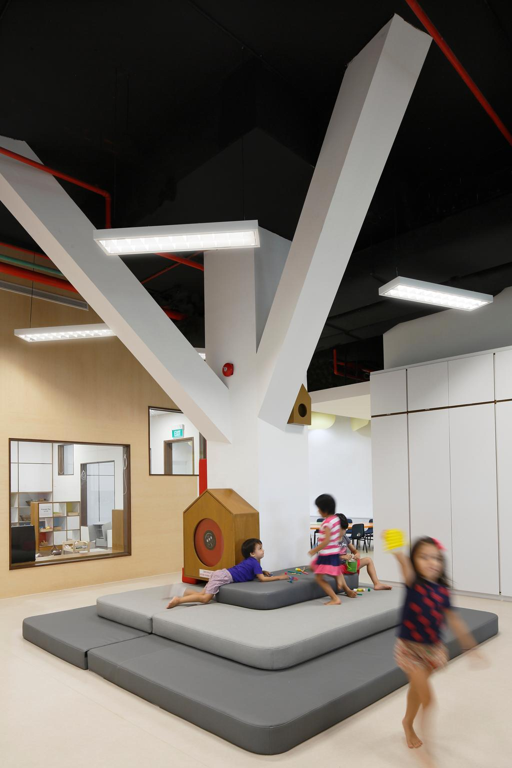 Cove 2 Preschool, Commercial, Architect, Lekker Architects, Contemporary, Hanging Ceiling Lights, Ceiling Lights, White Floor, White Cupboard, Grey Floor Mat, Thick Floor Mat, Gray Floor Mat, White Pillar, Human, People, Person, White Board, Door, Sliding Door