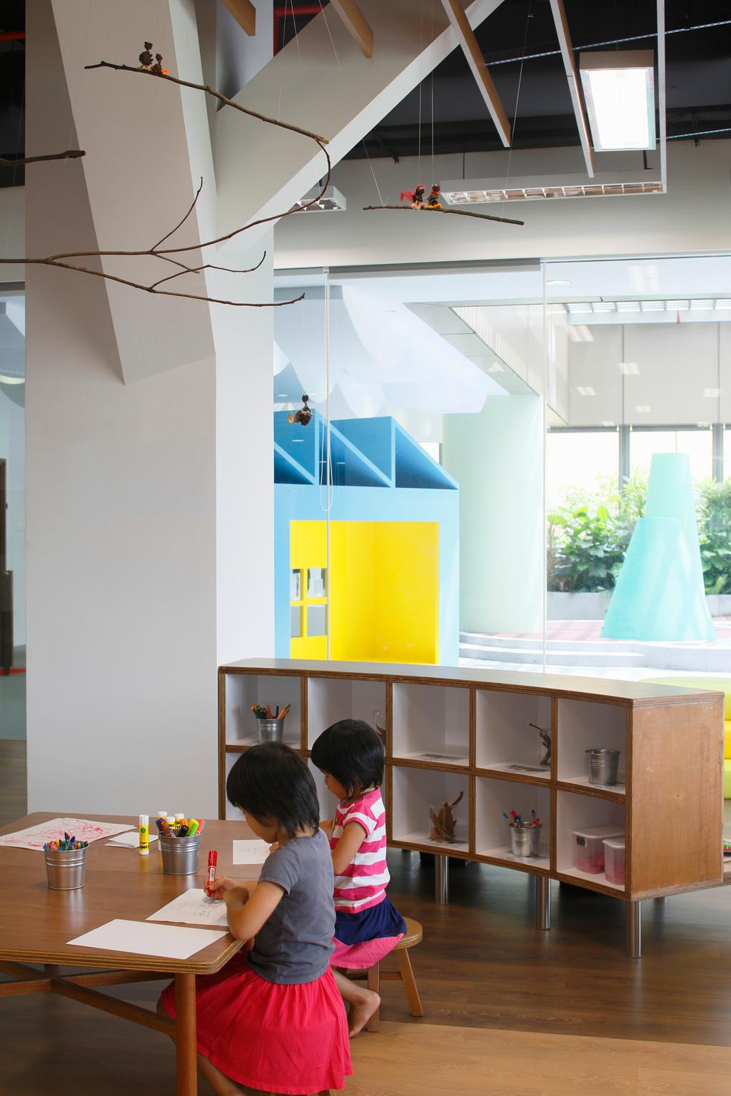 Cove 2 Preschool, Commercial, Architect, Lekker Architects, Contemporary, Ceiling Lighting, White Pillar, Wooden Tables, Wooden Shelves, Open Shelves, Flora, Jar, Plant, Potted Plant, Pottery, Vase