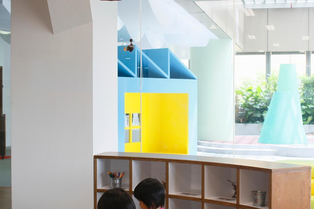 Cove 2 Preschool, Lekker Architects, Contemporary, Commercial, Ceiling Lighting, White Pillar, Wooden Tables, Wooden Shelves, Open Shelves, Flora, Jar, Plant, Potted Plant, Pottery, Vase