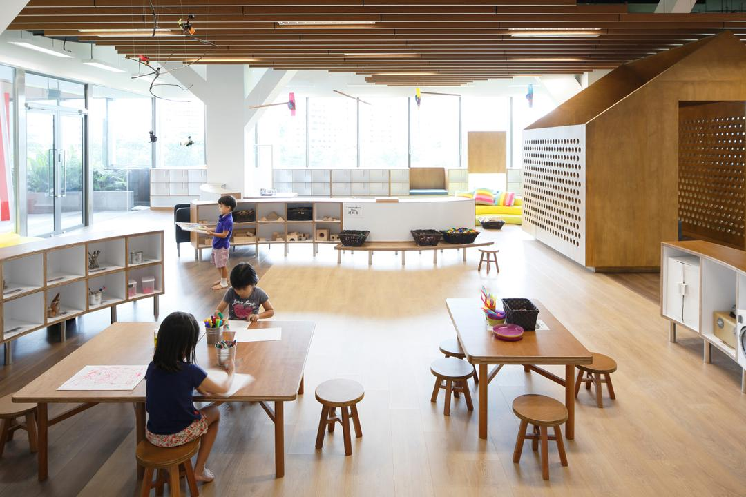 Cove 2 Preschool, Lekker Architects, Contemporary, Commercial, Wooden Ceiling Beams, Ceiling Beams, Light Wood, Light Wood Flooring, Ceiling Lights, White Shelves, Wooden Tables, Wooden Chairs, Wooden Stools, Stool Chair, Human, People, Person, Dining Table, Furniture, Table