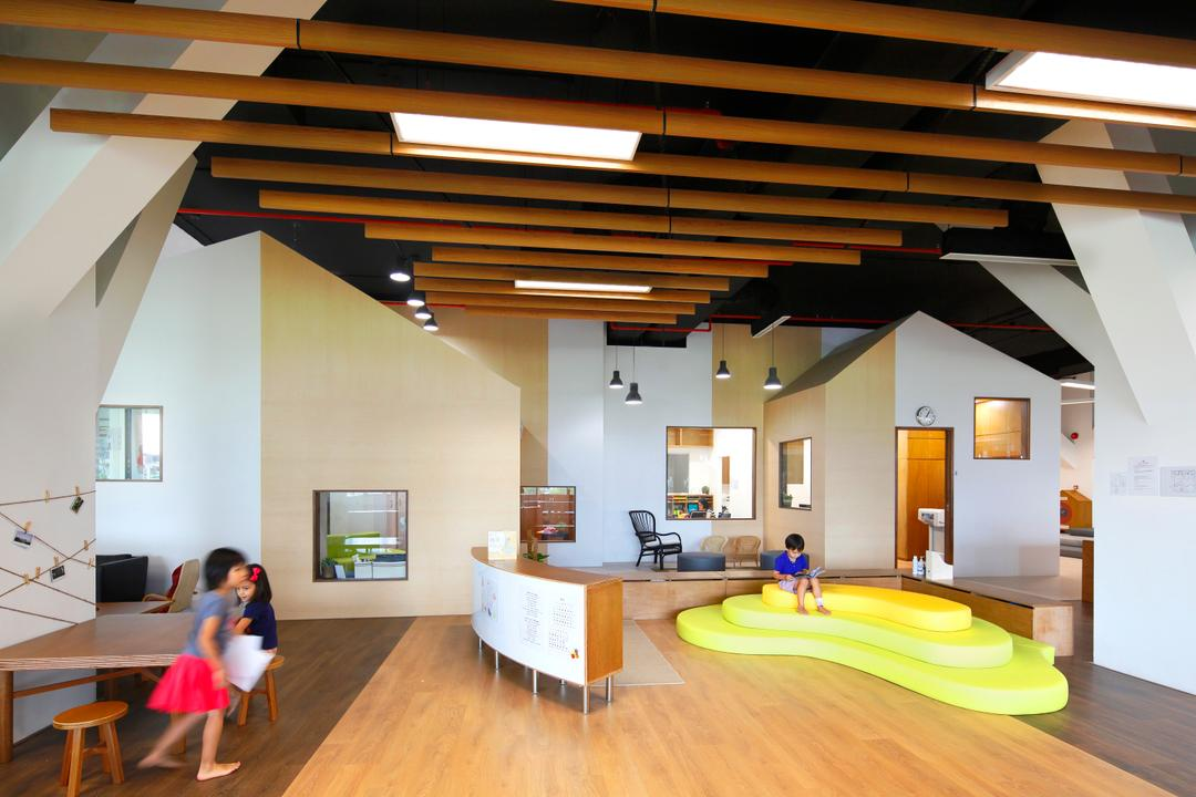 Cove 2 Preschool, Lekker Architects, Contemporary, Commercial, Wooden Ceiling Beams, Ceiling Beams, Light Wood Flooring, Yellow Platform, White Cabinets, White Wall, Ceiling Lights, Human, People, Person, Indoors, Interior Design
