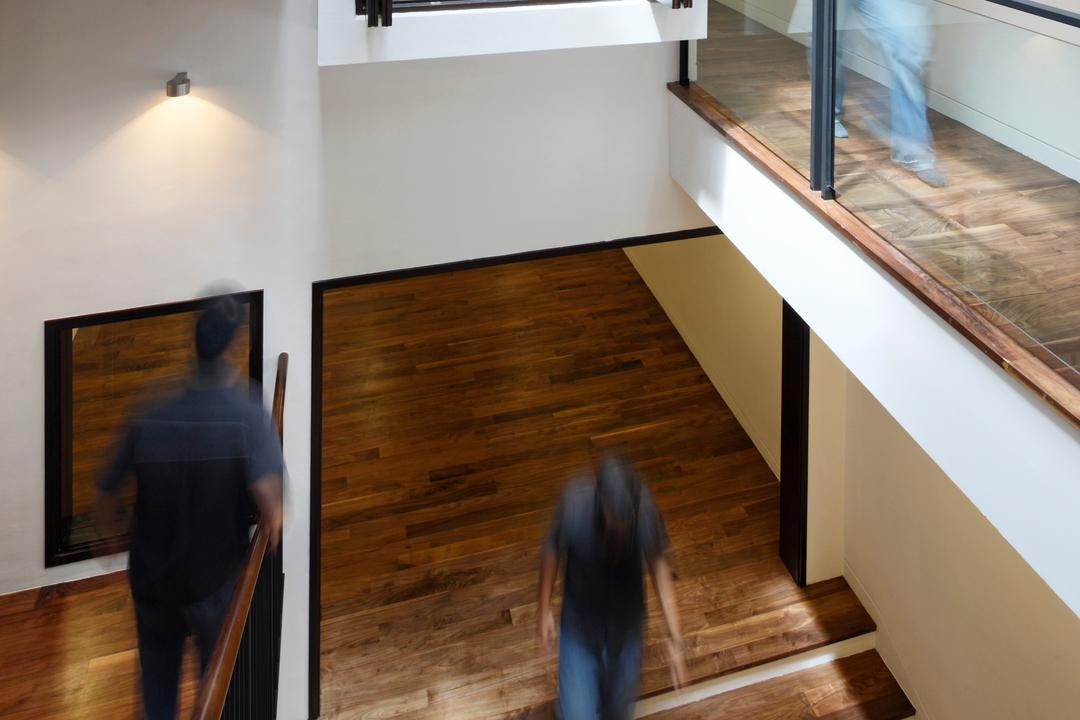 Emerald House, Lekker Architects, Traditional, Landed, Wooden Flooring, Stairways, Glass Barricade, Recessed Lighting, Human, People, Person, Light Fixture, Hardwood, Wood, Banister, Handrail, Staircase