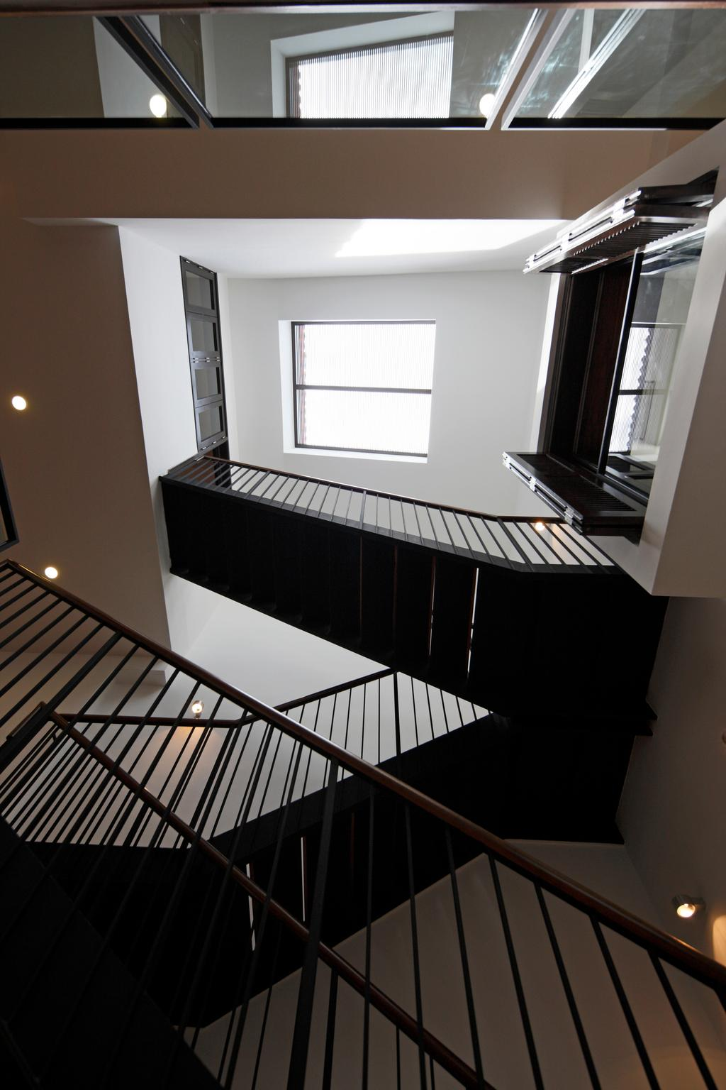 Traditional, Landed, Emerald House, Architect, Lekker Architects, Recessed Lighting, Recessed Lights, Stairway, Banister, Handrail, Staircase, Railing