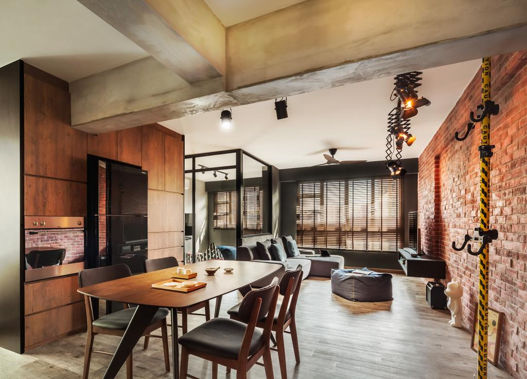 Industrial, HDB, Dining Room, Compassvale, Interior Designer, IN-EXPAT, Modern Contemporary Dining Room, Wooden Floor, Wooden Dining Table, Black Dining Chair, Brick Walls, Dining Table, Furniture, Table, Light Fixture, Indoors, Interior Design, Room, Conference Room, Meeting Room, Chair