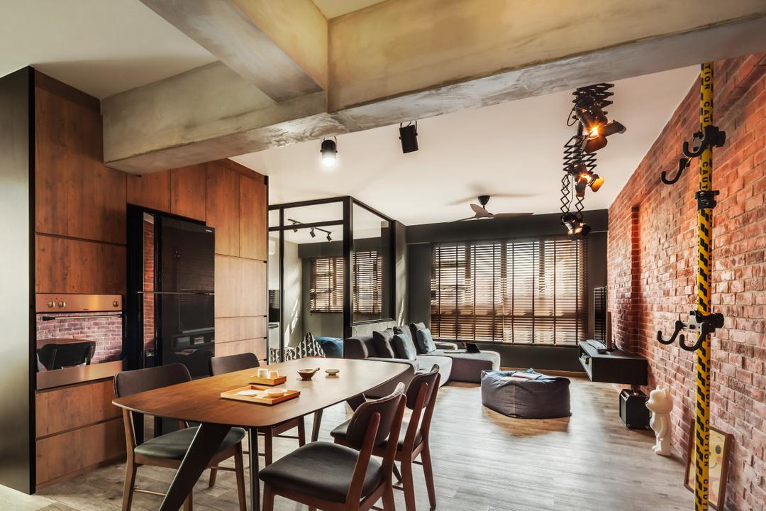 Compassvale, IN-EXPAT, Industrial, Dining Room, HDB, Modern Contemporary Dining Room, Wooden Floor, Wooden Dining Table, Black Dining Chair, Brick Walls, Dining Table, Furniture, Table, Light Fixture, Indoors, Interior Design, Room, Conference Room, Meeting Room, Chair
