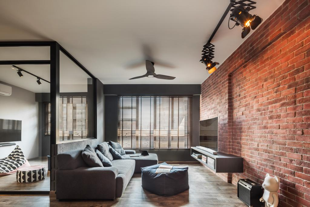 Industrial, HDB, Living Room, Compassvale, Interior Designer, IN-EXPAT, Modern Contemporary Living Room, Brick Walls, Ceiling Fan, Track Lights, Wooden Floor, Sectional Sofa, Roll Down Curtain, Flatscreen Tv, Floating Television Console, Couch, Furniture, Building, Housing, Indoors, Loft