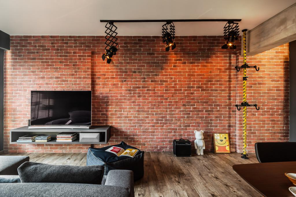 Industrial, HDB, Living Room, Compassvale, Interior Designer, IN-EXPAT, Light Fixture, Couch, Furniture, Fireplace, Hearth, Building, Housing, Indoors, Loft