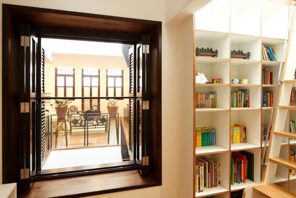Traditional, Landed, Emerald House, Architect, Lekker Architects, White Cabinet, Wooden Ladder, Open Shelves, Bookshelves, Bookcase, Furniture, Dining Table, Table