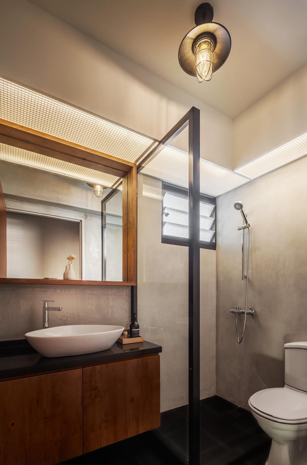 Industrial, HDB, Bathroom, Compassvale, Interior Designer, IN-EXPAT, Indoors, Interior Design