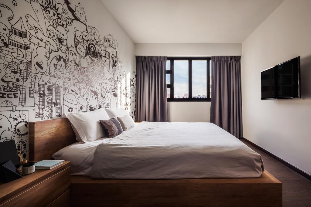Industrial, HDB, Bedroom, Compassvale, Interior Designer, IN-EXPAT, Modern Contemporary Bedroom, Wooden Bedding Panel, King Size Bed, Cozy, Cosy, Sling Curtain, Wall Mounted Television, Bed, Furniture, Indoors, Interior Design, Room