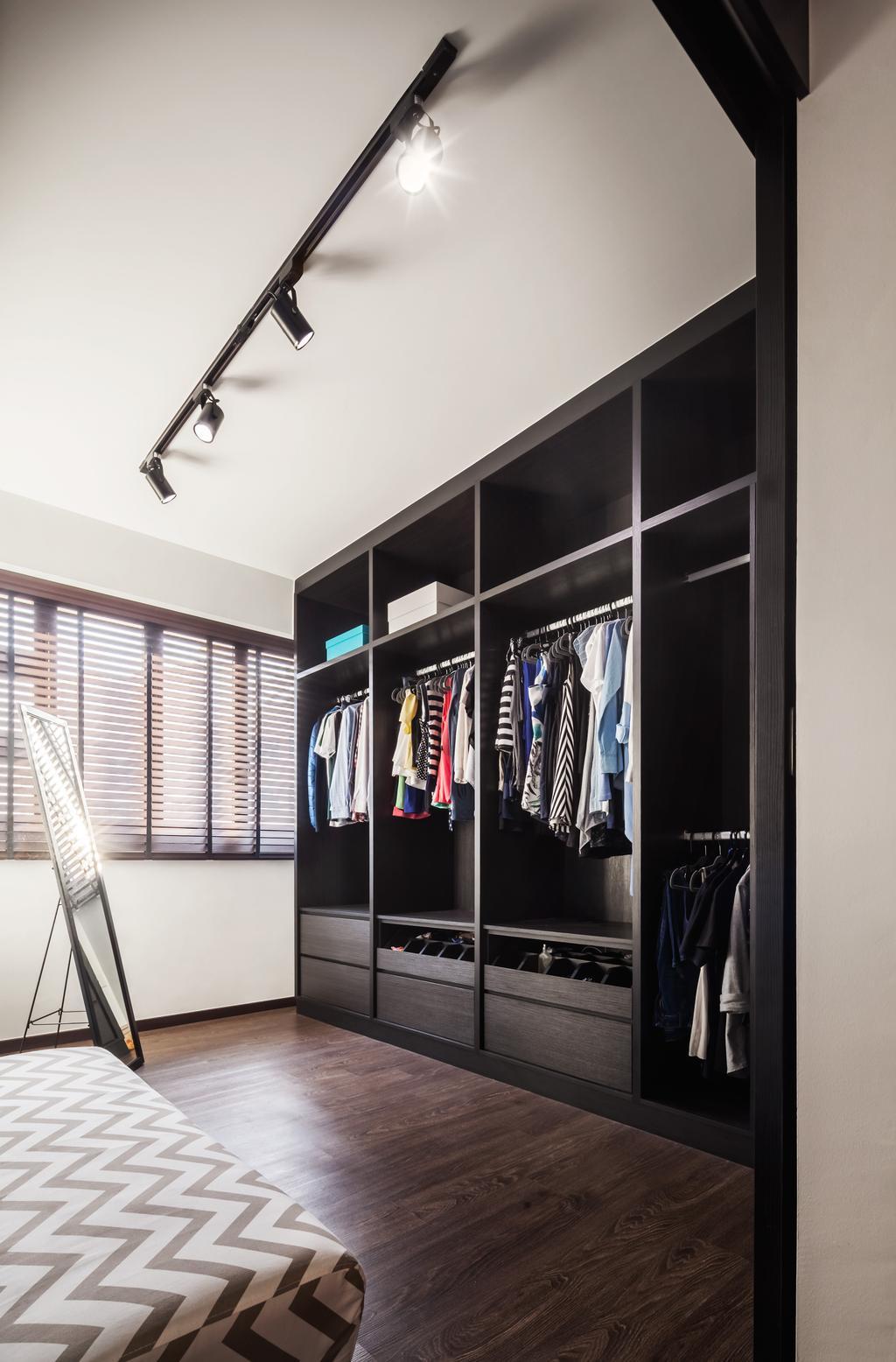 Industrial, HDB, Compassvale, Interior Designer, IN-EXPAT, Closet, Furniture, Wardrobe