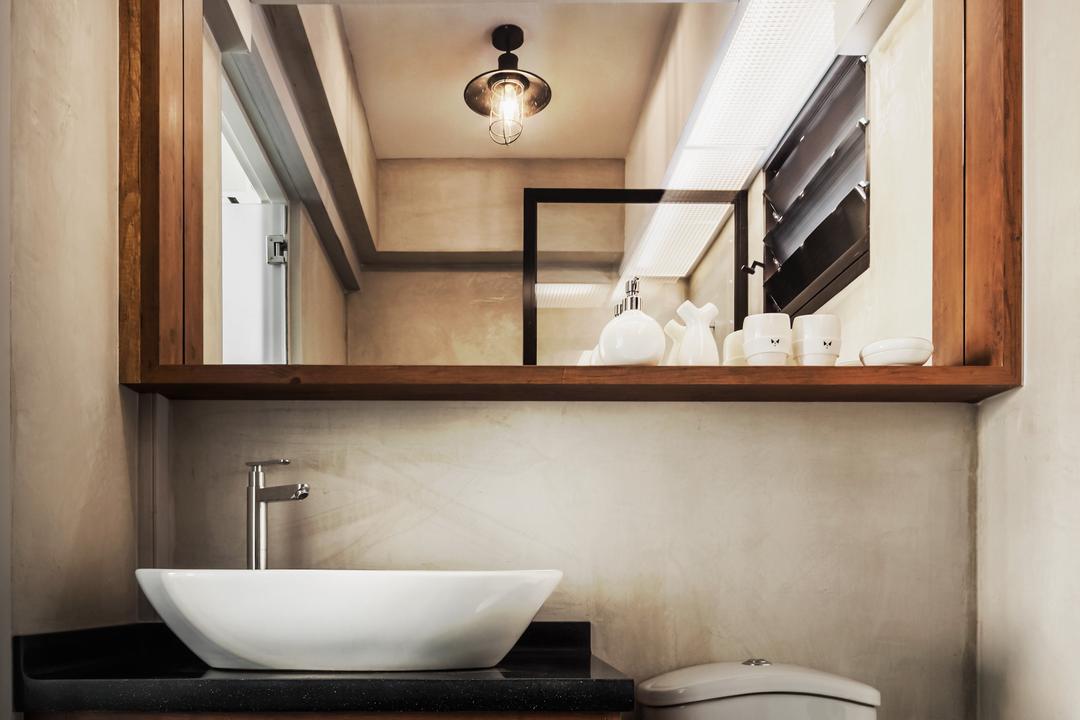 Compassvale, IN-EXPAT, Industrial, Bathroom, HDB, Modern Contemporary Bathroom, Wooden Bathroom Cabinet, Black Laminated Top, Protruding Sink, Indoors, Interior Design, Room