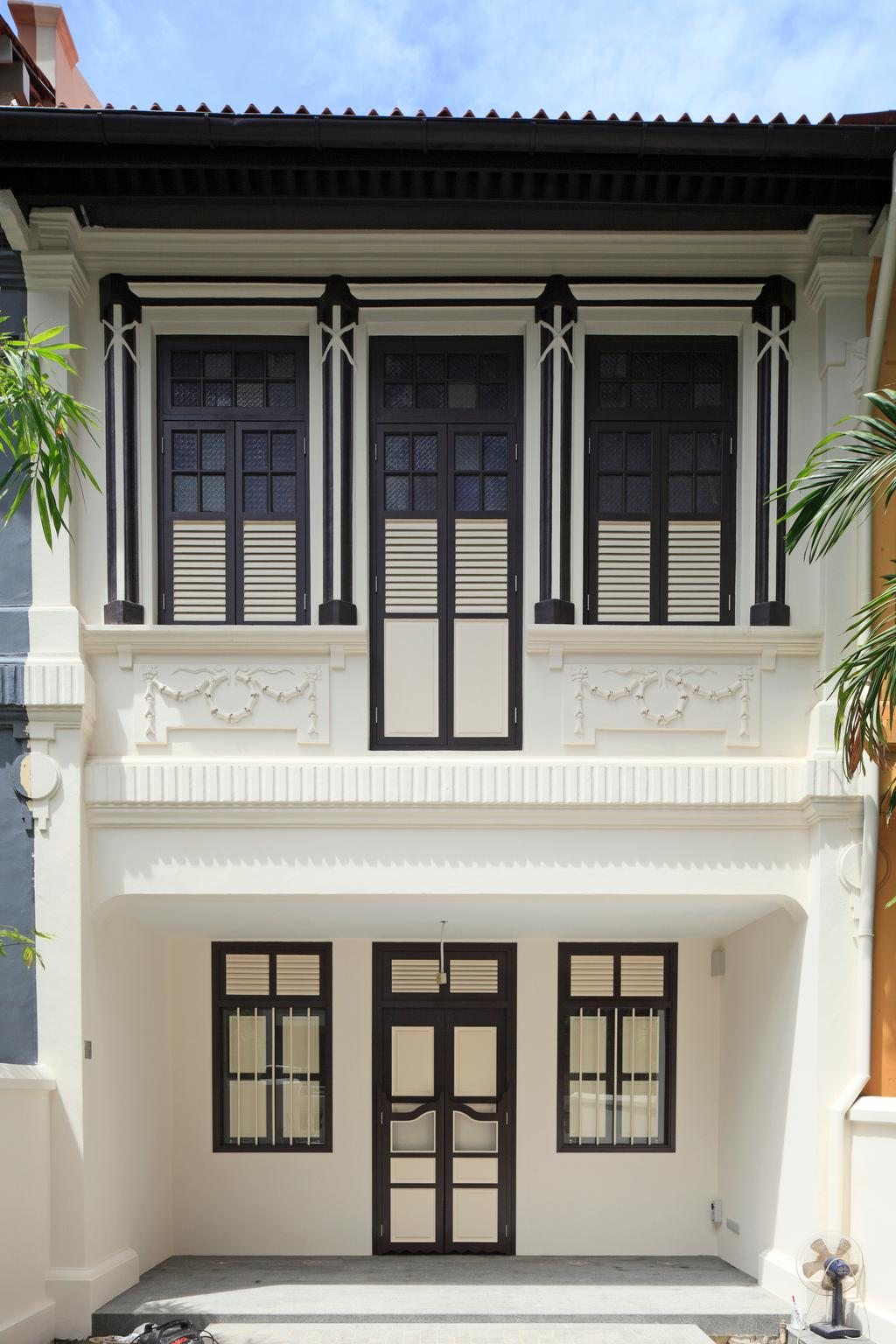 Traditional, Landed, Emerald House, Architect, Lekker Architects, Exterior View, Colonial Style House, Monochrome House, Black Window Frames, Black Framed Door, Colonial Windows, Flora, Jar, Plant, Potted Plant, Pottery, Vase