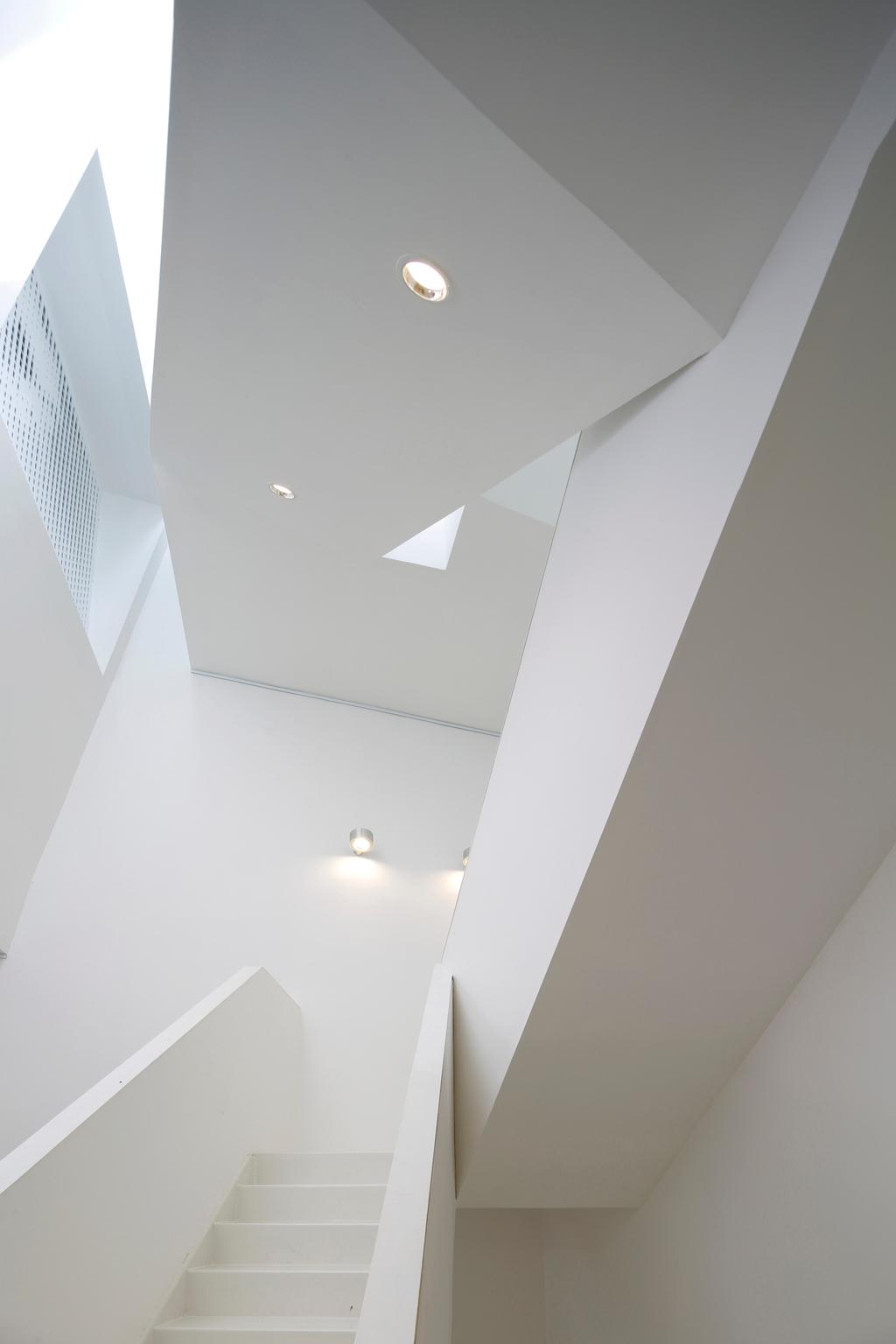 Gallery House, Commercial, Architect, Lekker Architects, Modern, Recessed Lighting, Recessed Lights, White Stairstay, White Steps, Wall Lamp