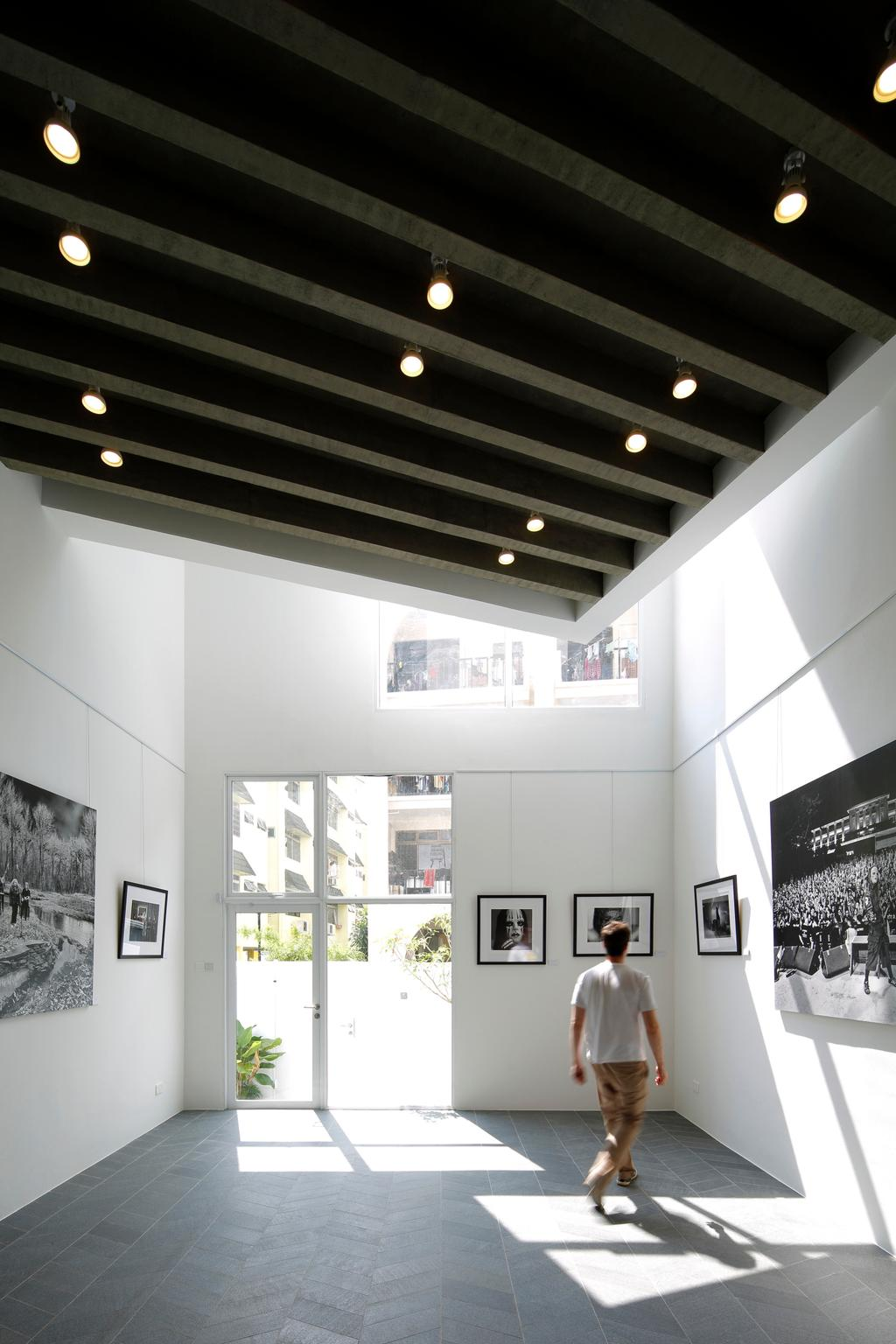 Gallery House, Commercial, Architect, Lekker Architects, Modern, High Ceiling, Ceiling Lights, Wall Portrait, White Ceiling, Door, Sliding Door, Audience, Crowd, Human, Person