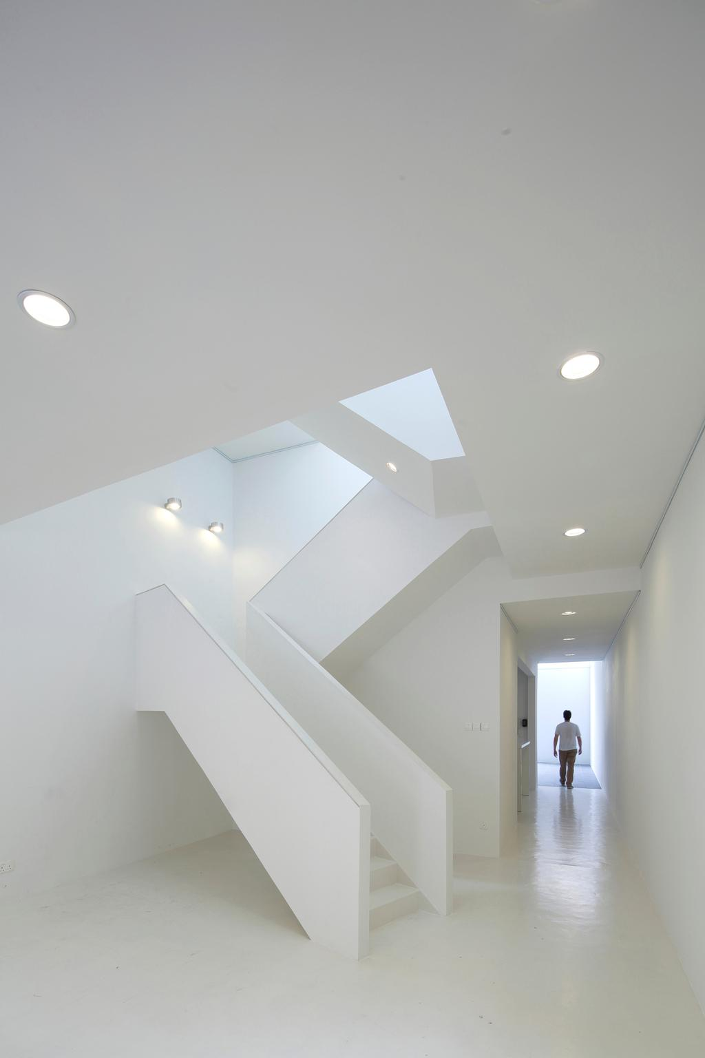 Gallery House, Commercial, Architect, Lekker Architects, Modern, Recessed Lighting, Recessed Lights, Stairway, White Stairway, Wall Lamp, White Steps