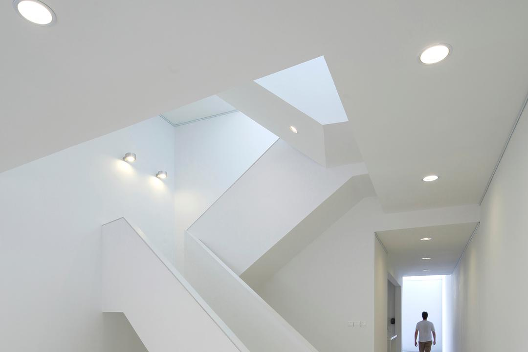 Gallery House, Lekker Architects, Modern, Commercial, Recessed Lighting, Recessed Lights, Stairway, White Stairway, Wall Lamp, White Steps