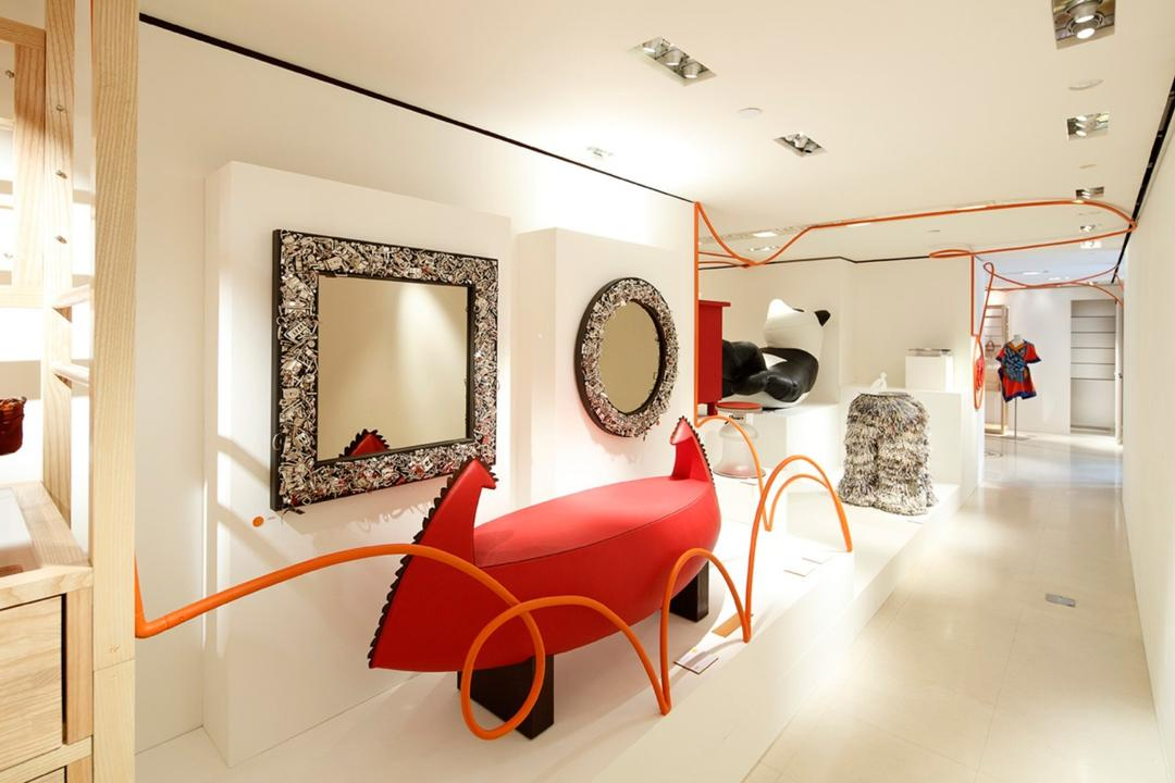Hermes Petit H, Lekker Architects, Contemporary, Commercial, Mirror, Wall Mounted On Wall, Wooden Shelves, White Flooring, Red Cushion, Dining Room, Indoors, Interior Design, Room