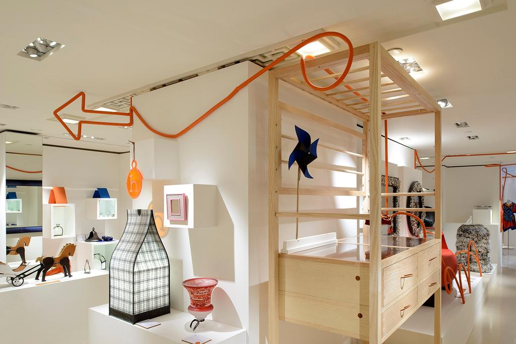 Hermes Petit H, Commercial, Architect, Lekker Architects, Contemporary, Ceiling Lighting, Wooden Shelves, Wooden Drawers, Arrow Signage, Wall Shelf, White Wall Shelf, Indoors, Interior Design