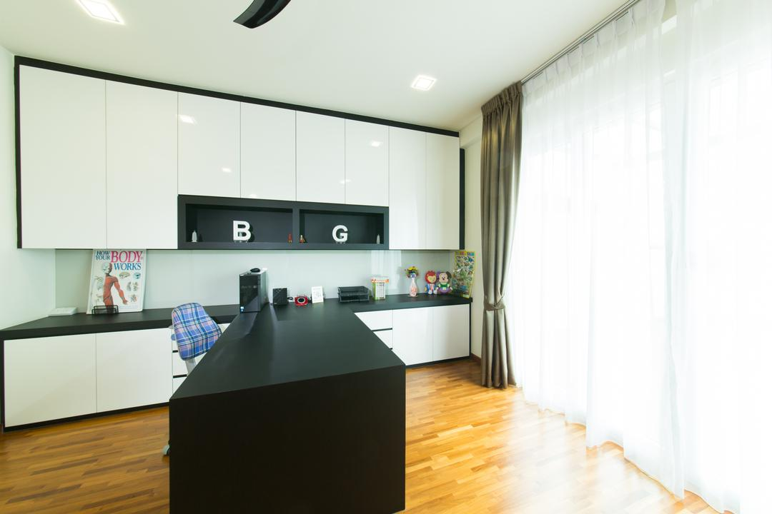 25A Parry Avenue, Corazon Interior, Contemporary, Landed, Recessed Lights, Recessed Lighting, Wooden Flooring, Timber Floor, Curtains, White Curtains, Black Desk, Monochrome Shelves, Monochrome Cabinets, Wall Mounted Shelves, Flooring