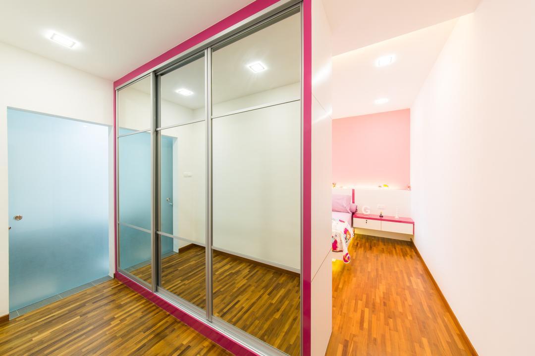 25A Parry Avenue, Corazon Interior, Contemporary, Bedroom, Landed, Wooden Flooring, Timber Floor, Recessed Lighting, Recessed Lights, Glass Wardrobe Doors