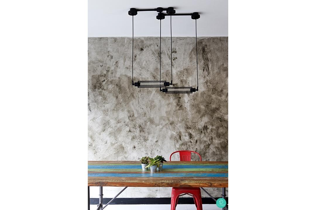 Green-and-Lush-Industrial-Dining-Room-Concrete-Wall