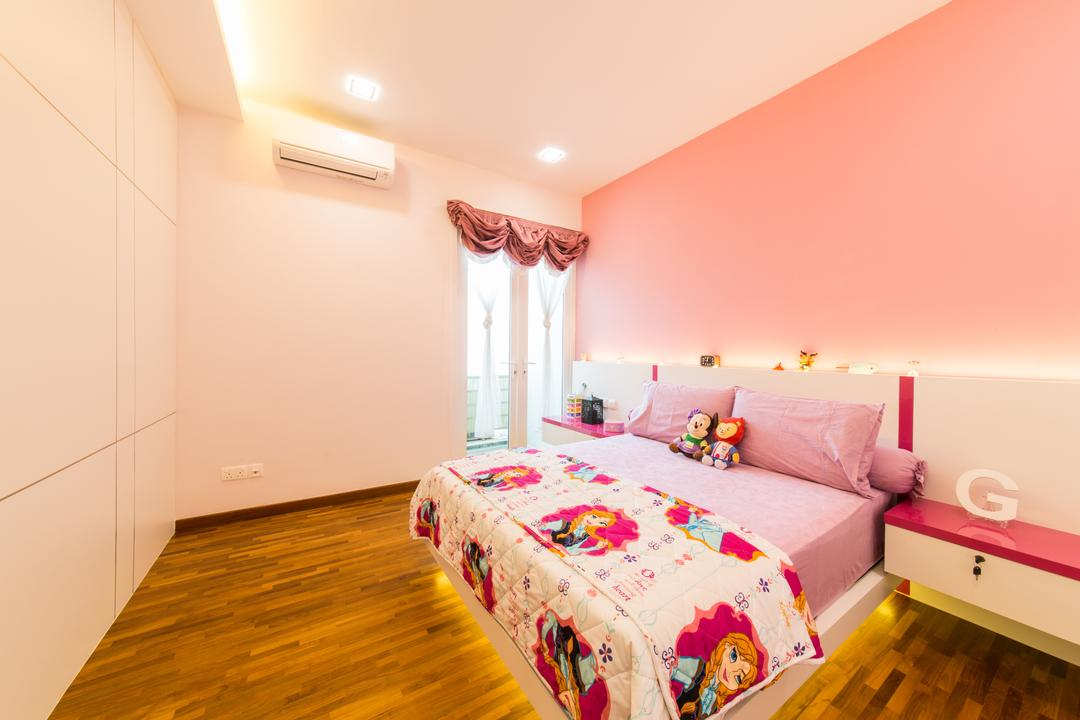 25A Parry Avenue, Corazon Interior, Contemporary, Bedroom, Landed, Pink Theme, Pink Walls, Concealed Lighting, Concealed Lights, Wooden Flooring, Recessed Lighting, Bedside Table, Curtains, Pink Curtains, Wall Mounted Table, False Ceiling, Indoors, Interior Design, Room