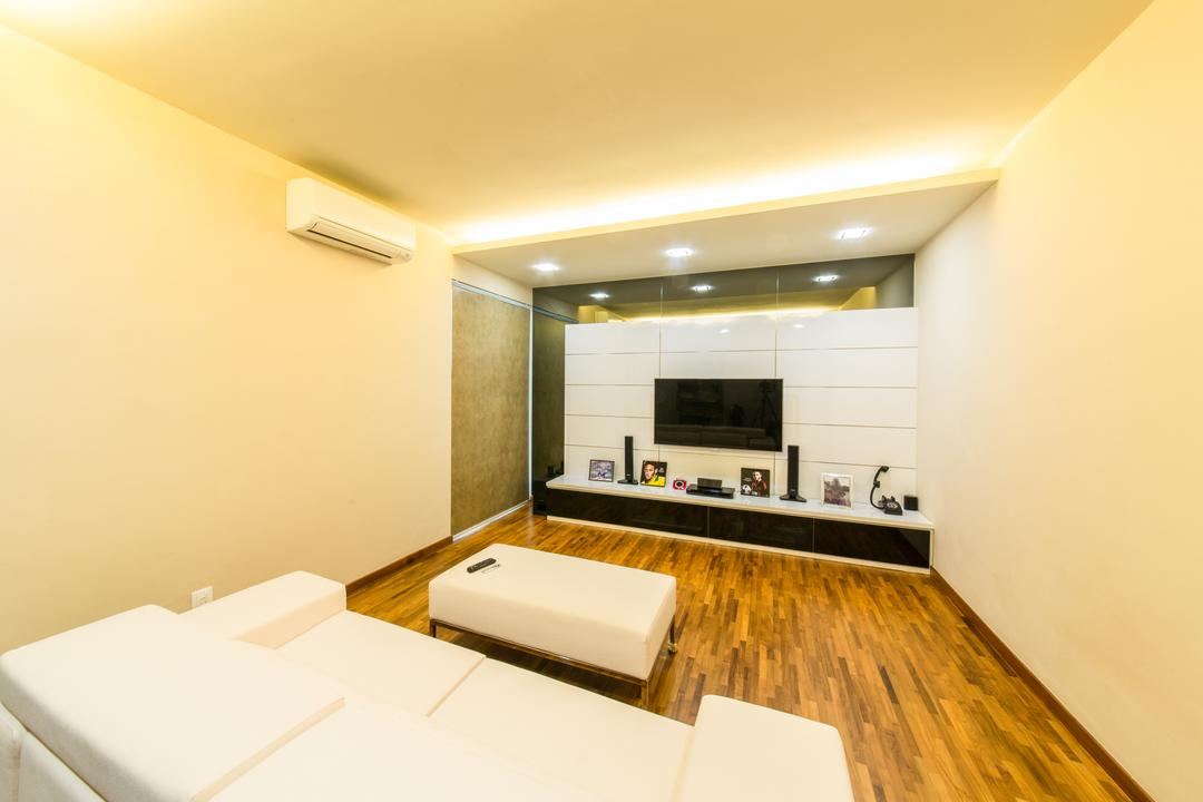 25A Parry Avenue, Corazon Interior, Contemporary, Landed, False Ceiling, Recessed Lighting, Recessed Lights, Concealed Lighting, Concealed Lights, Wooden Flooring, Timber Floor, Flatscreen Tv, Wall Mounted Tv, Tv Console, Bench Sofa, White, White Sofa, Indoors, Interior Design