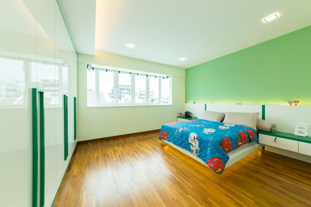 25A Parry Avenue, Corazon Interior, Contemporary, Bedroom, Landed, Wooden Flooring, Timber Floor, Green Walls, Recessed Lighting, Recessed Lights, False Ceiling, Concealed Lighting, Concealed Lights, White Headboard, Bedside Table, Wall Mounted Table, Flooring