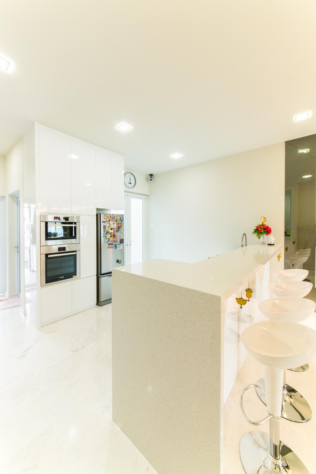 Contemporary, Landed, Kitchen, 25A Parry Avenue, Interior Designer, Corazon Interior, Recessed Lighting, Recessed Lights, Built In Oven, Built In Refrigerator, White Bar Counter, Bar Counter, White Bar Stool, Bar Stool, Indoors, Interior Design, Appliance, Electrical Device, Microwave, Oven