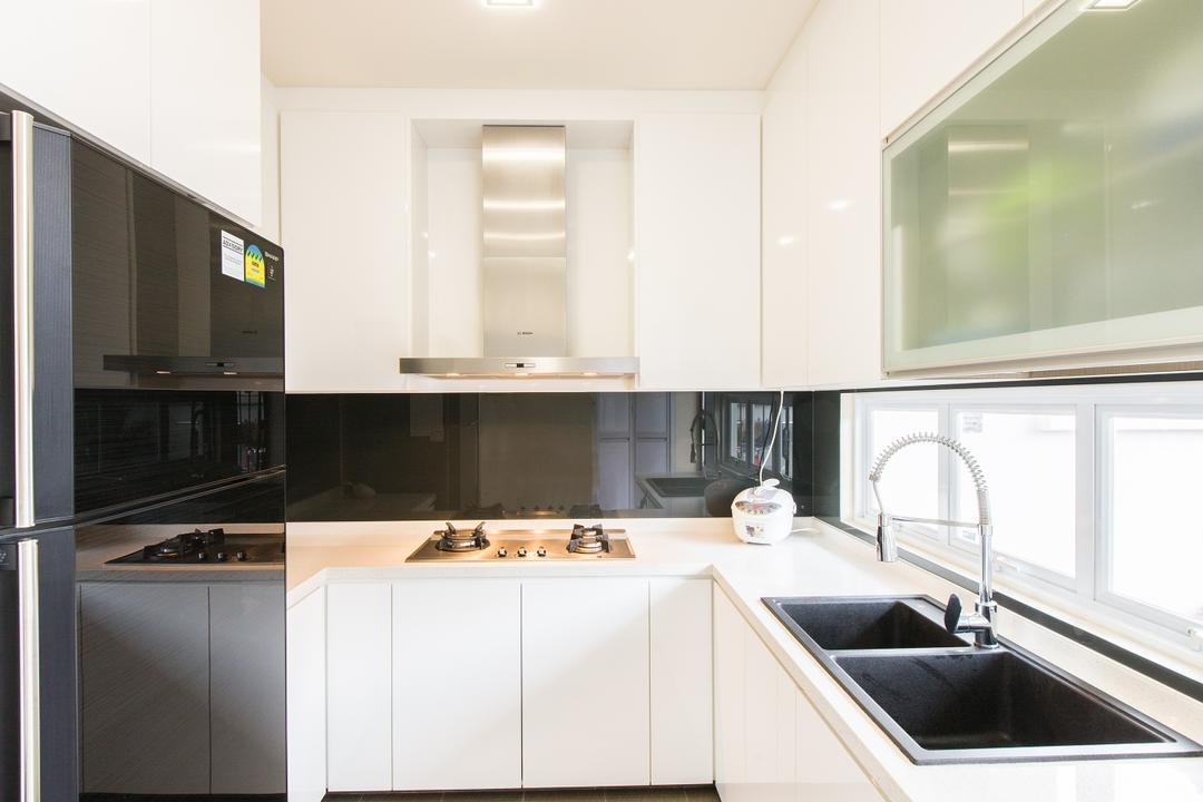 25A Parry Avenue, Corazon Interior, Contemporary, Kitchen, Landed, Recessed Lighting, Recessed Lights, Wooden Flooring, Light Wood, Laminated Floor, White Cabinets, Cooker Hood, Cooking Hood, Indoors, Interior Design, Room, Appliance, Electrical Device, Oven, Bathroom