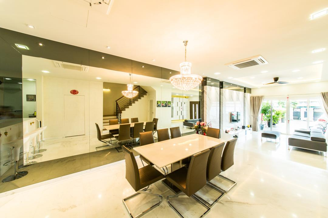 25A Parry Avenue, Corazon Interior, Contemporary, Dining Room, Landed, Pendant Lighting, Pendant Lights, White Flooring, Recessed Lighting, Recessed Lights, Mirror, Full Length Mirror, Dining Table, Dining Chairs, Furniture, Table, Conference Room, Indoors, Meeting Room, Room