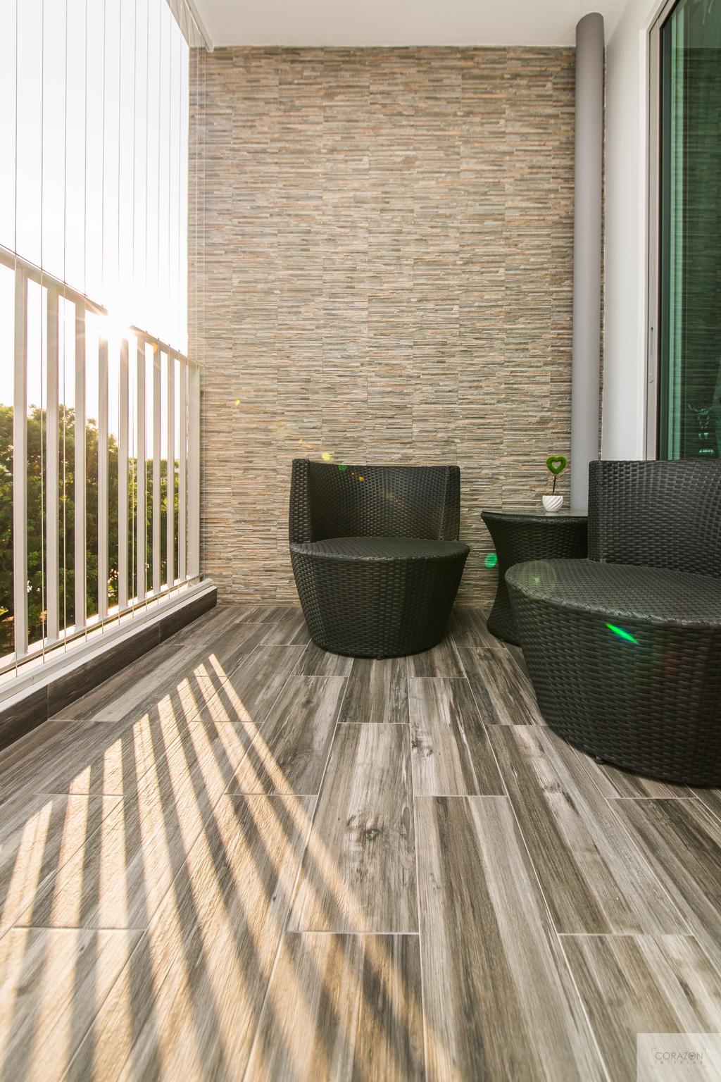 Modern, HDB, Balcony, Parkland Residence (Block 475C), Interior Designer, Corazon Interior, Wooden Flooring, Outdoor Chairs, Black Chairs, Chair, Furniture