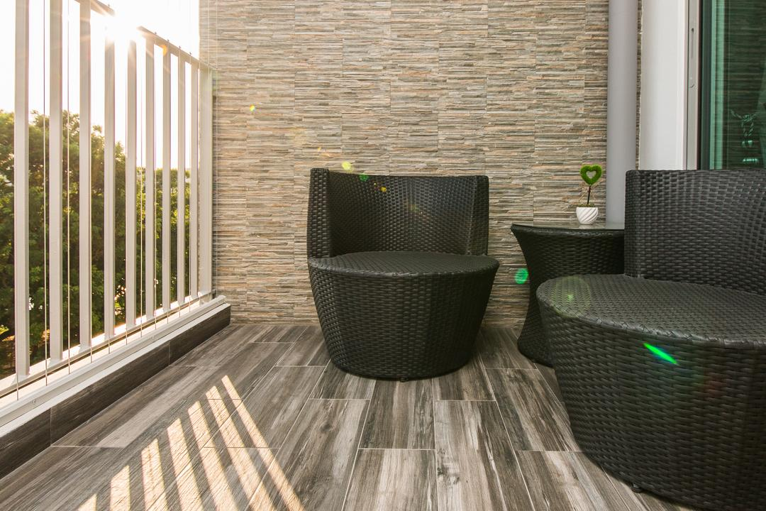 Parkland Residence (Block 475C), Corazon Interior, Modern, Balcony, HDB, Wooden Flooring, Outdoor Chairs, Black Chairs, Chair, Furniture