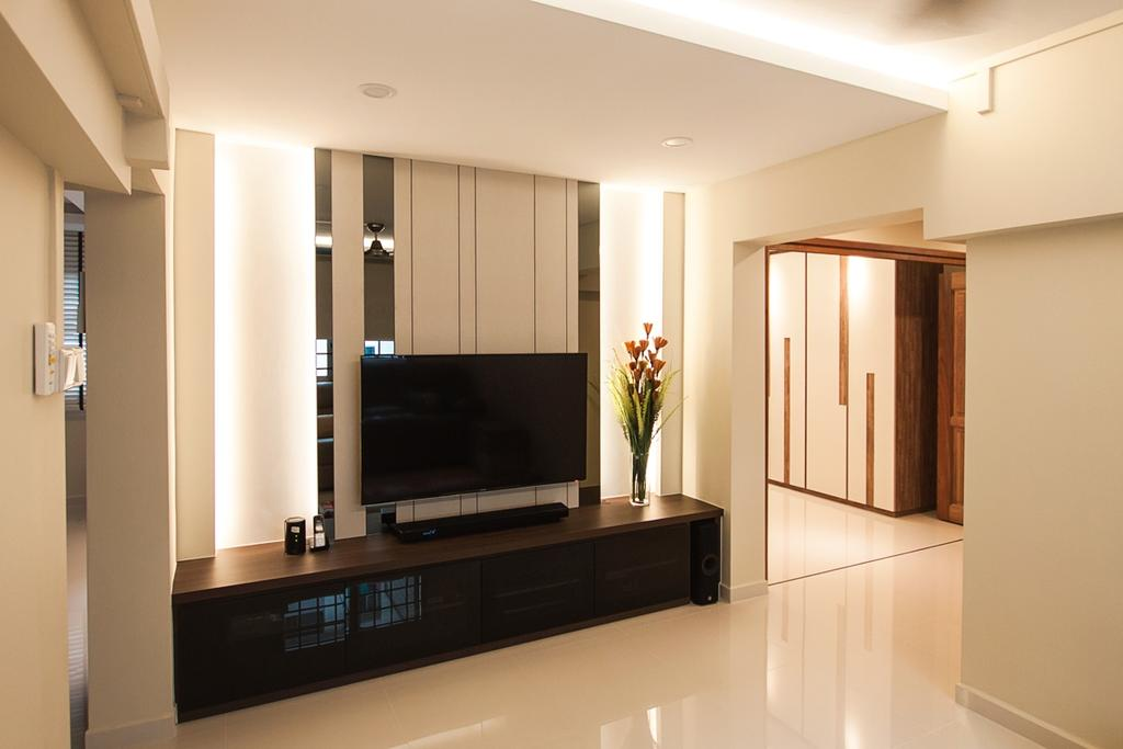 Modern, HDB, Living Room, Ang Mo Kio (Block 234), Interior Designer, Space Atelier, False Ceiling, Concealed Lighting, Concealed Lights, Feature Wall, Flatscreen Tv, Wall Mounted Tv, Tv Shelf, Tv Console, Potted Vase