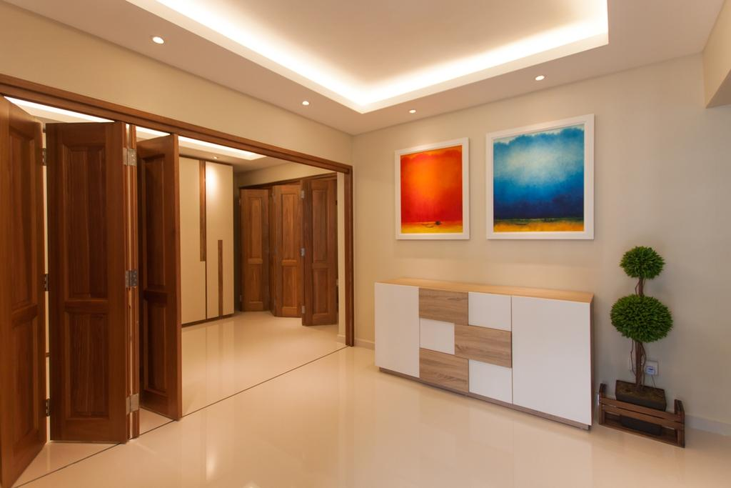 Modern, HDB, Ang Mo Kio (Block 234), Interior Designer, Space Atelier, False Ceiling, Concealed Lighting, Concealed Lights, Recessed Lighting, Recessed Lights, Wooden Doors, Foldable Doors, Cabinet, Wall Portrait, Potted Plant