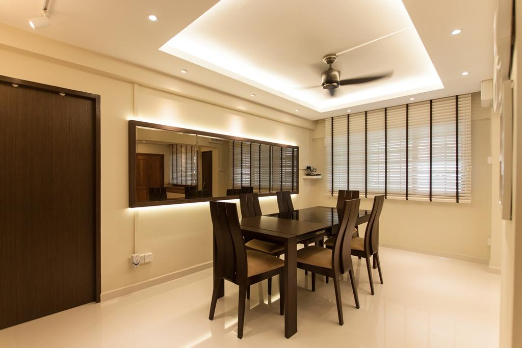 Modern, HDB, Dining Room, Ang Mo Kio (Block 234), Interior Designer, Space Atelier, False Ceiling, Concealed Lights, Recessed Lighting, Recessed Lights, Venetian Blinds, Dining Table, Dining Chairs, Concealed Lighting