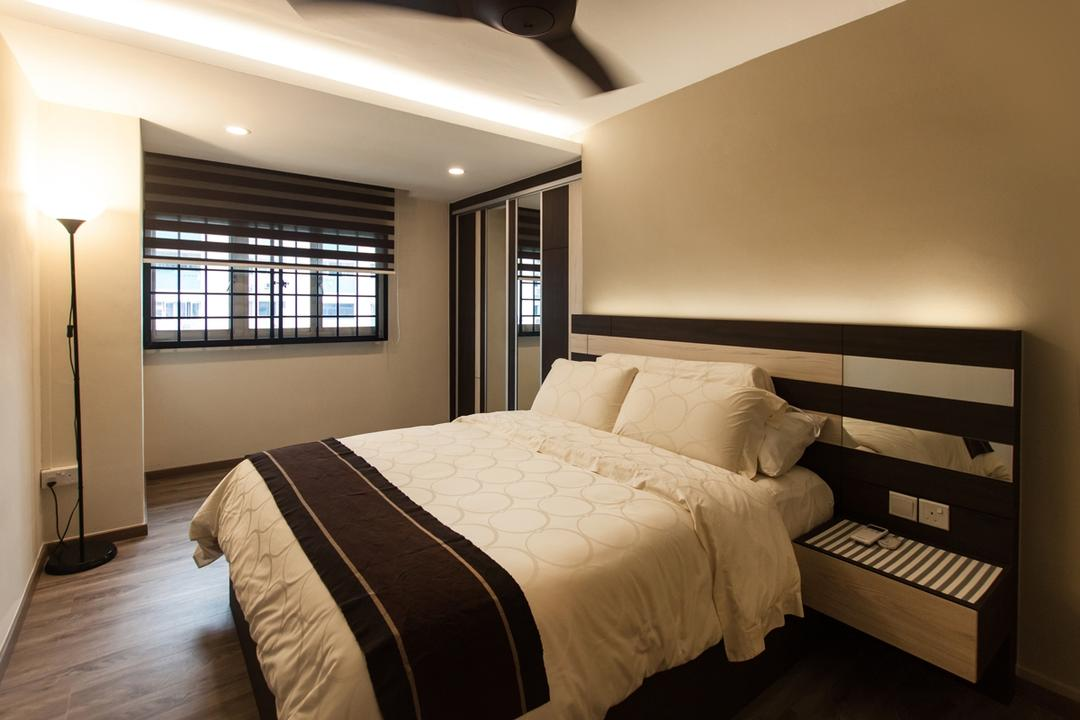 Ang Mo Kio (Block 234), Space Atelier, Modern, Bedroom, HDB, False Ceiling, Recessed Lights, Concealed Lights, Wooden Floor, Headboard, Floor Lamp
