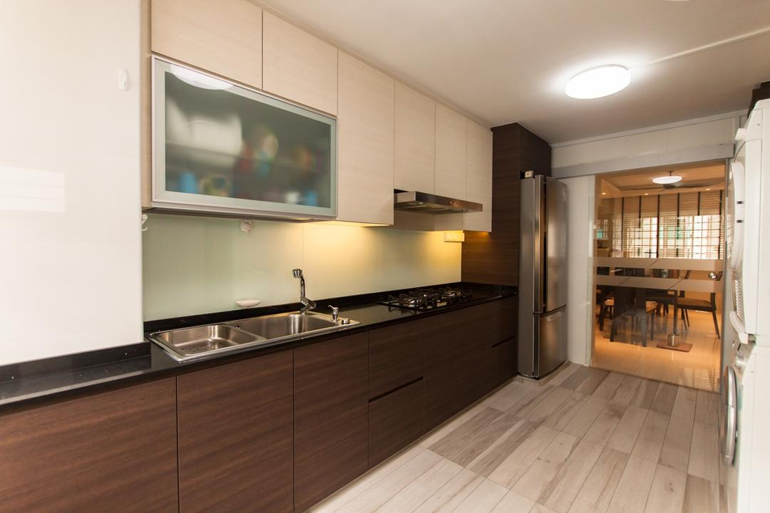 Ang Mo Kio (Block 234), Space Atelier, Modern, Kitchen, HDB, Ceiling Lights, Wooden Floor, Laminated Floor, Laminated Cabinets, White Shelves, Wall Mounted Shelves