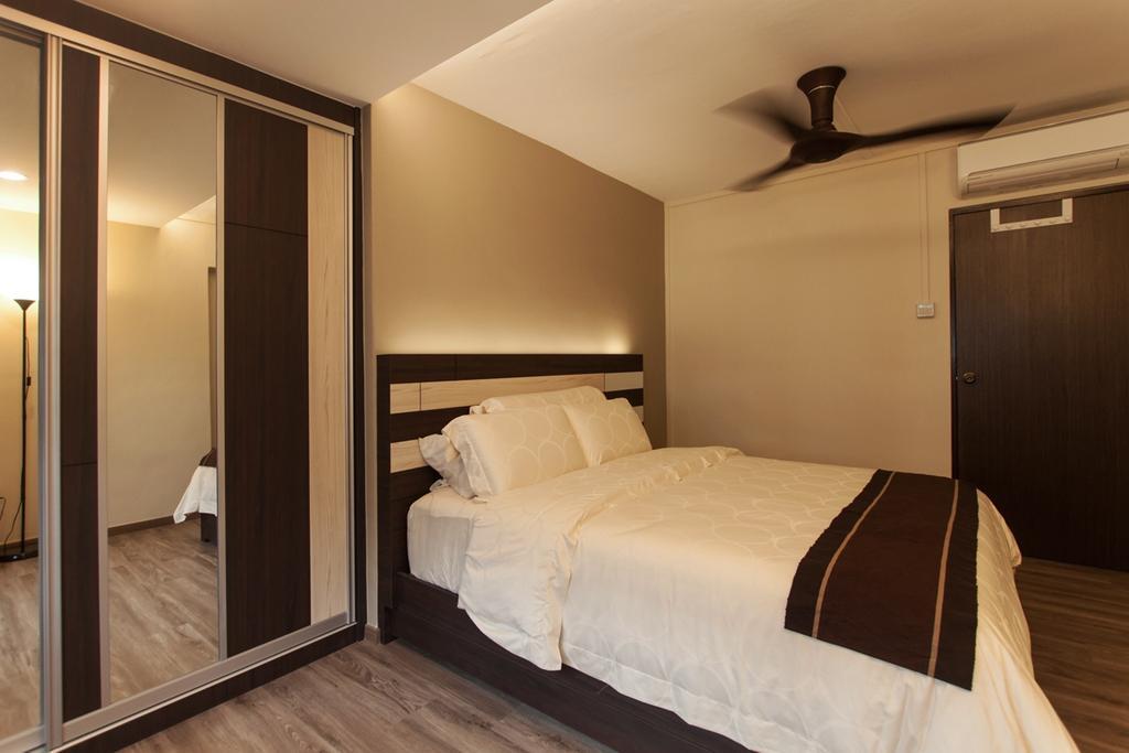Modern, HDB, Bedroom, Ang Mo Kio (Block 234), Interior Designer, Space Atelier, Wardrobe, Black Ceiling Fan, Ceiling Fan, Wooden Flooring, Laminated Floor, Headboard, Concealed Lighting, Concealed Lights