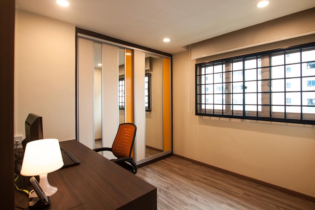 Ang Mo Kio (Block 234), Space Atelier, Modern, Study, HDB, Recessed Lighting, Recessed Lights, Study Desk, Wooden Desk, Table Lamp, White Lamp, Office Chair, Laminated Floor, Wooden Floor