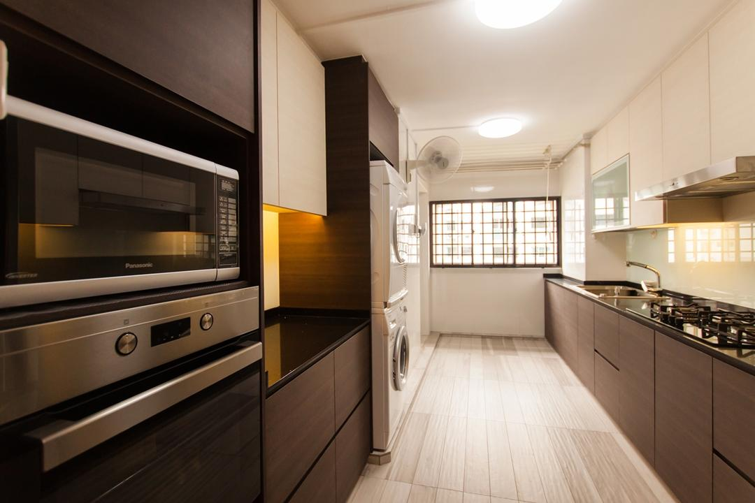 Ang Mo Kio (Block 234), Space Atelier, Modern, Kitchen, HDB, White Shelves, Wall Mounted Shelves, Ceiling Lights, Laminated Cabinets, Laminated Floor