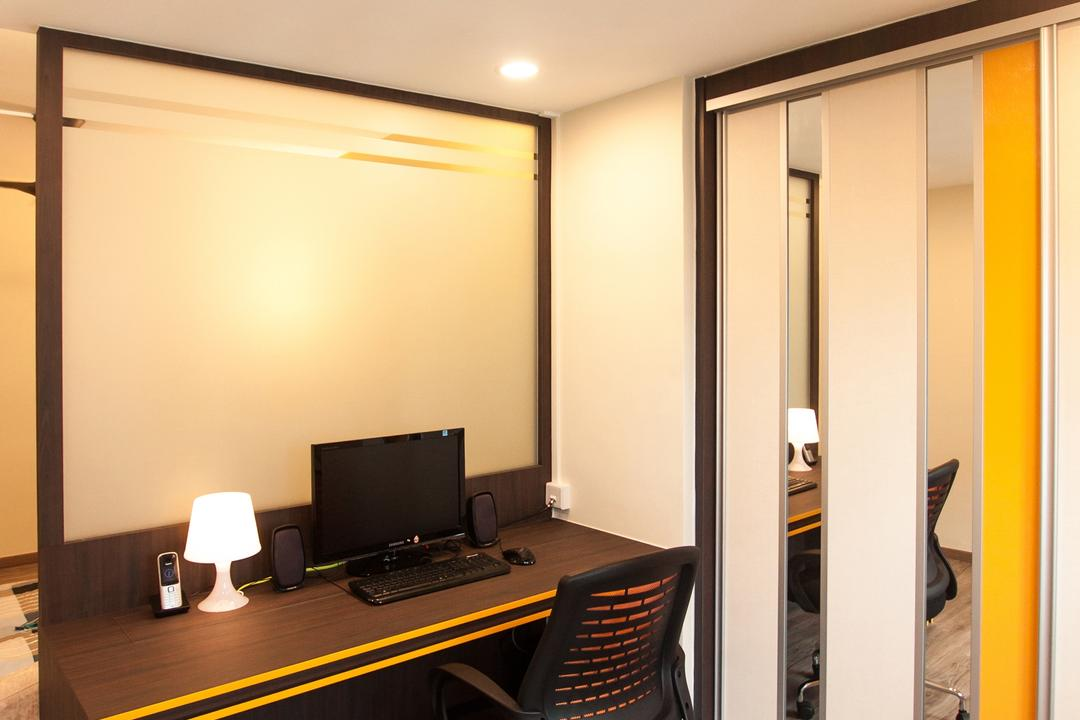 Ang Mo Kio (Block 234), Space Atelier, Modern, Study, HDB, Recessed Lighting, Wooden Desk, Laminated Floor, Wooden Flooring, Office Chair, Swivel Chair, Study Desk, Table Lamp