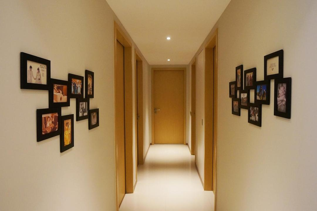 Blossom Residences, Space Atelier, Contemporary, Condo, Recessed Lights, White Flooring, White Walls, Wall Portrait, Corridor, Art, Art Gallery